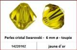 Perles cristal Swarovski -  6 mm a¸ - toupie - jaune d`or