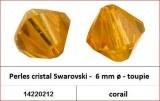 Perles cristal Swarovski -  6 mm a¸ - toupie - corail