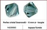 Perles cristal Swarovski -  6 mm a¸ - toupie - topaze fumee