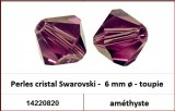 Perles cristal Swarovski -  6 mm a¸ - toupie - amethyste
