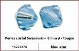 Perles cristal Swarovski -  8 mm a¸ - toupie - bleu azur