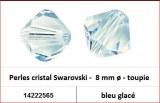 Perles cristal Swarovski -  8 mm a¸ - toupie - bleu glace