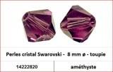 Perles cristal Swarovski -  8 mm a¸ - toupie - amethyste