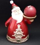 Pere noel en ceramique avec bougie - 10cm