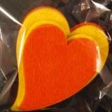 Coeurs en feutrine, 6+8 cm, 2 couleurs, sct.-LS 4 pces, jaune/orange