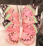 3 Papillons en plumes, 6 cm, sct.-LS 3 pces, rose