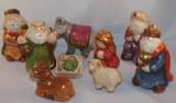 Figurines de creche en ceramique, peintes a la main, 5-8 cm, set 9 pces