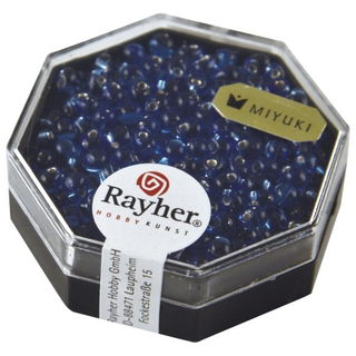 Miyuki-Perle-Drop, transp,, garn, argent ø 3,4 mm<br />bleu royal