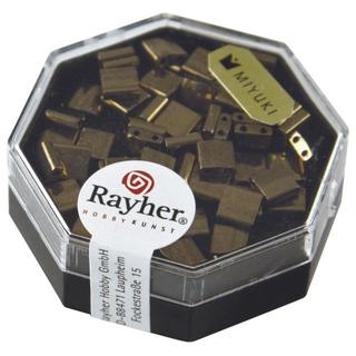 Miyuki-Perle-Tila, metallique 5x5x1,9mm, deux trous ø 0,8 mm<br />cuivre