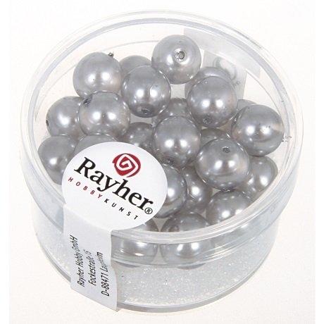 Perles en verre Renaissance 8 mm 8 mm. boîte 25 pces. mi-tra gris argente