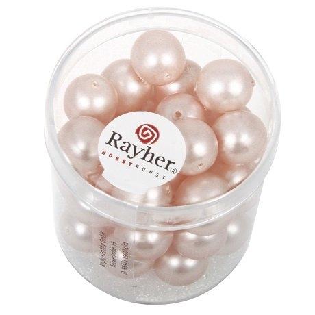 Perles en verre Renaissance. Opales 10 mm. boîte 35 pces rose