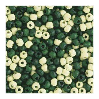 Perles en bois, mates, 6 mm Teintes vertes
