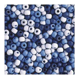 Perles en bois, mates, 6 mm Teintes bleues