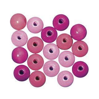 Perles en bois, polies, 14 mm ø teinte rose fonce
