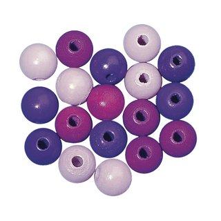 Perles en bois, polies, 14 mm ø teinte lila