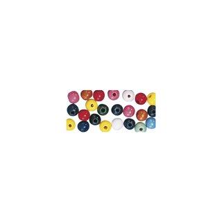 Perles en bois, polies, 4 mm ø, rondes couleurs assorties