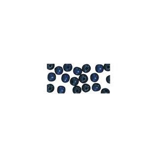 Perles en bois, polies, 6 mm ø, rondes bleu fonce