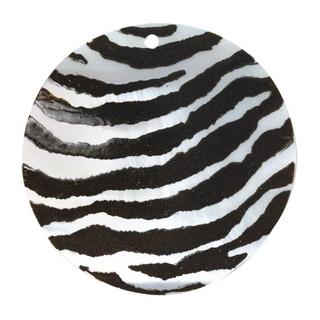 Element bijou nacre Rondelle 40 mm peint main Zebre, piece nacre