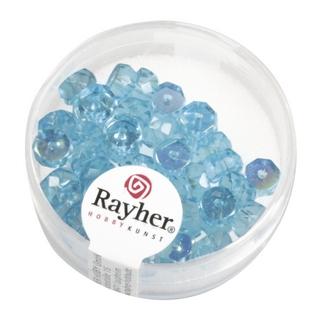 Perle facettee en verre, Petite roue 6x3 mm irisee turquoise