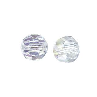 Perles rondes en verre facettees, 6 mm ø cristal de roche
