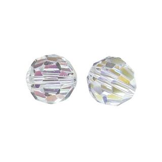 Perles rondes en verre facettees, 8 mm ø cristal de roche