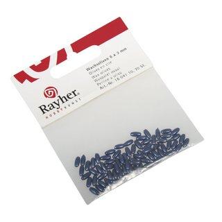 Olives en cire 6x3mm  bleu fonce,