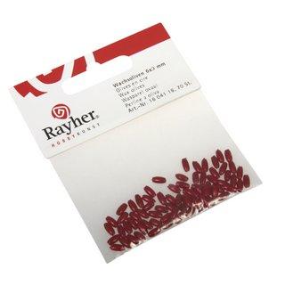 Olives en cire 6x3mm  rouge,