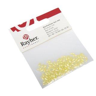 Olives en cire 6x3mm  jaune,