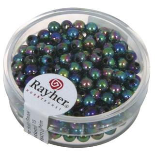 Perles de cire, 4 mm ø noir irise