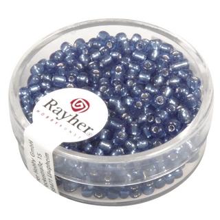 Rocailles,2,6 mm ø,av,garniture d'argent bleu clair