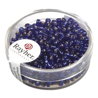 Rocailles,2,6 mm ø,av,garniture d'argent bleu fonce