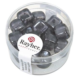 Perles en verre-Cube 8x9 mm anthracite