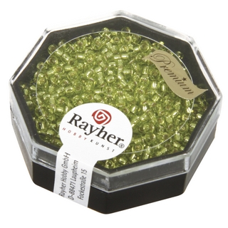 Premium-rocailles, 2,2 mm ø garniture d'argent citron, boîte 12 g