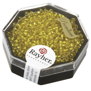 Premium-rocailles, 2,2 mm ø garniture d'argent jaune d`or, boîte 8 g