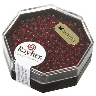 Premium-rocailles, 2,2 mm ø garniture d'argent rouge classique, boîte 8 g