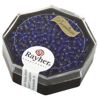 Premium-rocailles, 2,2 mm ø garniture d'argent bleu royal, boîte 12 g