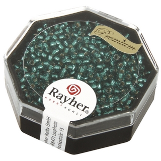 Premium-rocailles, 2,2 mm ø garniture d'argent bleu lagon, boîte 12 g
