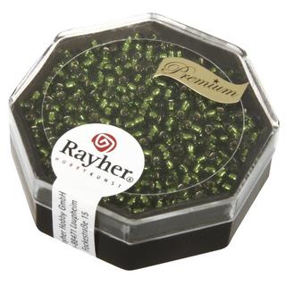 Premium-rocailles, 2,2 mm ø garniture d'argent olive, boîte 12 g