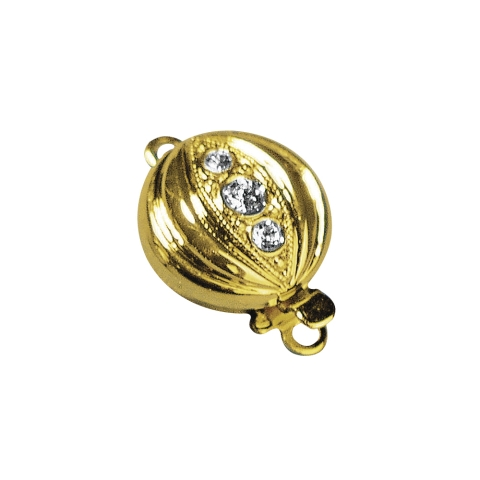 Fermoir avec strass, 11 mm, rond 1rang, sans nickel,pce dore