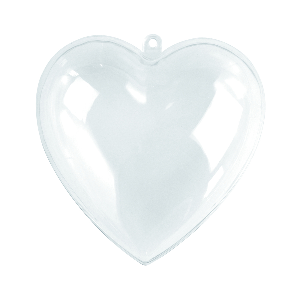 Coeur en plastique 2 parties, 10 cm