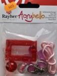 Kit porte-cles Acrybello, fleur rose, carre et perle rouges/blanches, plastique transparent