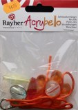 Kit porte-cles Acrybello, fleur orange, perles rouges/blanches/vertes/bleues, plastique transparent