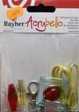 Kit porte-cles Acrybello, carre bleu, perle rouges/vertes, plastique transparent