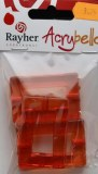 Acrybello 5.5X3.5cm. blister 3 pieces. rectangles, plastique, orange