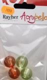 Acrybello 2cm. blister 4 pieces. perles, plastique, orange/verte