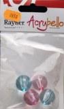 Acrybello 2cm. blister 4 pieces. perles, plastique, rose/bleu