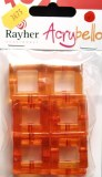 Acrybello 2.8X2.8cm. blister 10 pieces. carres, plastique, orange