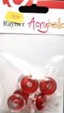 Acrybello 2cm. blister 8 pieces. perles plates, plastique, rouge/blanche