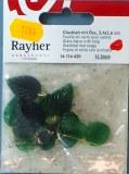 Feuille en verre avec oeillet, 2,4x1,6 cm, sct.-LS 12 pces, emeraude