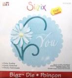 Poinçon pour decoupe cercle festonne avec fleur et You sur machine Sizzix (Bigkick, Big shot & Sidekick) env 11cm